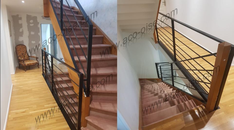 Rampe d'escalier et garde corps style droit